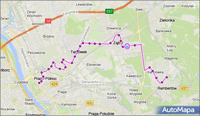 Rozkład jazdy autobusu 199 na przystanku Zieleniecka 02. ZTM Warszawa na mapie Targeo