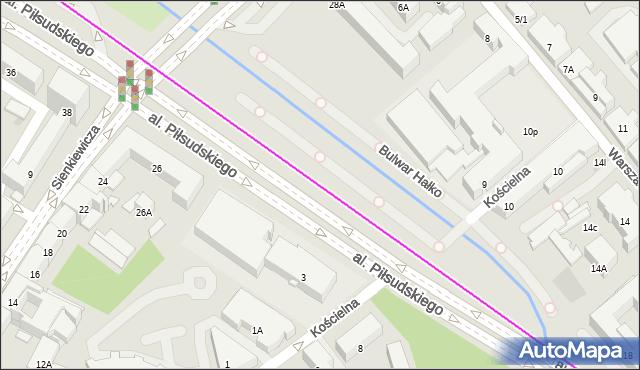 Mapa Polski Targeo, Autobus 103 - trasa - Zajezdnia; dojazd do przystanku:PLAC INWALIDÓW(305)(nr inw. 305). BKM na mapie Targeo