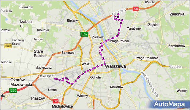 Mapa Polski Targeo, Autobus 127 - trasa BRÓDNO-PODGRODZIE - NOWE WŁOCHY. ZTM Warszawa na mapie Targeo