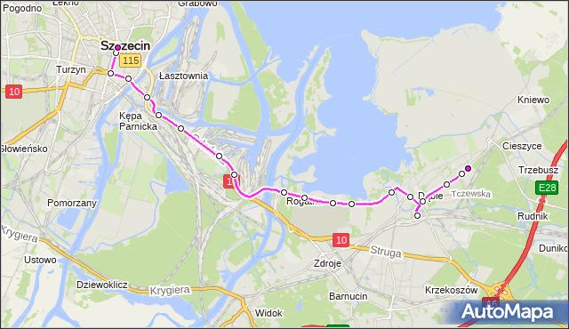 Mapa Polski Targeo, Autobus 522 - trasa Dąbie Osiedle - Plac Rodła. ZDiTM Szczecin na mapie Targeo