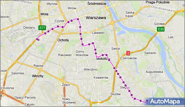 Mapa Polski Targeo, Autobus 130 - trasa CH BLUE CITY - WILANÓW. ZTM Warszawa na mapie Targeo