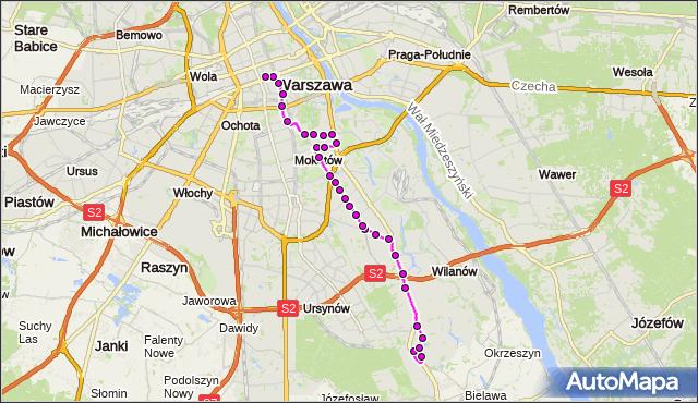 Mapa Polski Targeo, Autobus N81 - trasa WAFLOWA - DW.CENTRALNY. ZTM Warszawa na mapie Targeo