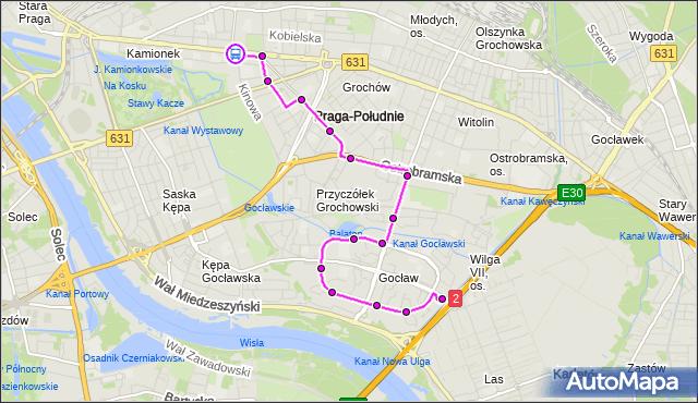 Rozkład jazdy autobusu 311 na przystanku Praga-Płd.-Ratusz 02. ZTM Warszawa na mapie Targeo