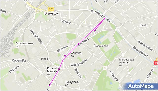 Mapa Polski Targeo, Autobus 104 - trasa RYNEK - Zajezdnia; dojazd do przystanku:WIEJSKA/KOPERNIKA(526)(nr inw. 526). BKM na mapie Targeo