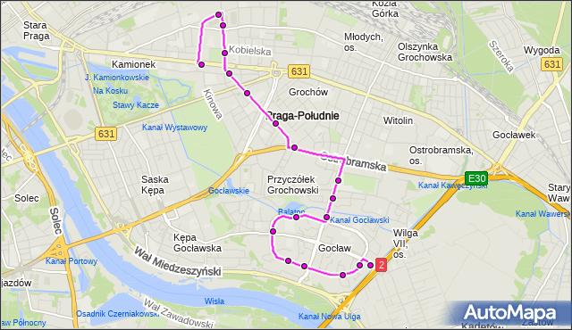 Mapa Polski Targeo, Autobus 311 - trasa GOCŁAW - PRAGA PŁD.-RATUSZ. ZTM Warszawa na mapie Targeo