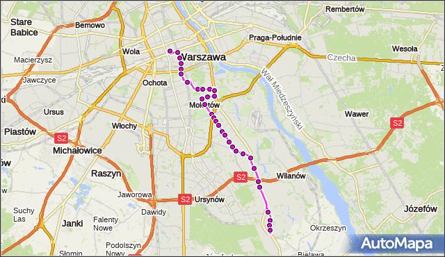 Mapa Polski Targeo, Autobus N81 - trasa DW.CENTRALNY - WAFLOWA. ZTM Warszawa na mapie Targeo