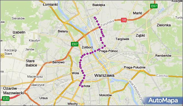 Mapa Polski Targeo, Tramwaj 1 - trasa BANACHA - ŻERAŃ WSCHODNI. ZTM Warszawa na mapie Targeo