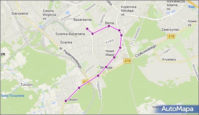 Mapa Polski Targeo, Autobus 11 - trasa SKŁADOWA/ZDT - KLEOSIN/REYMONTA(742)(nr inw. 742). BKM na mapie Targeo