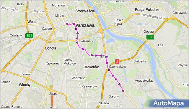 Mapa Polski Targeo, Autobus 131 - trasa DW.CENTRALNY - SADYBA. ZTM Warszawa na mapie Targeo