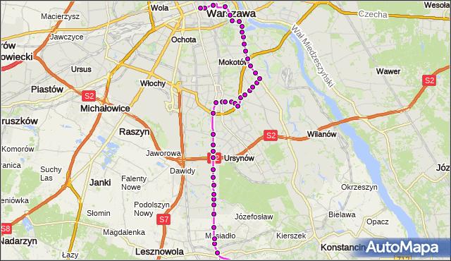 Mapa Polski Targeo, Autobus N83 - trasa PKP PIASECZNO PS - DW.CENTRALNY. ZTM Warszawa na mapie Targeo