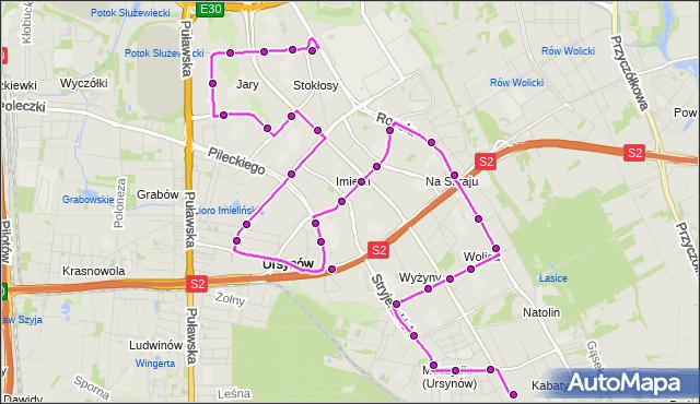 Mapa Polski Targeo, Autobus 179 - trasa OS.KABATY - URSYNÓW PŁN.. ZTM Warszawa na mapie Targeo