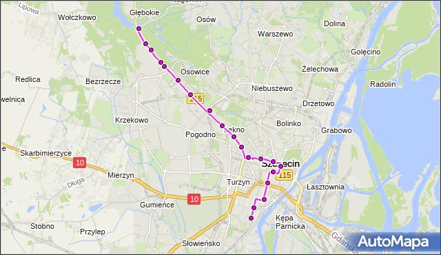 Mapa Polski Targeo, Tramwaj 1 - trasa Głębokie - Potulicka. ZDiTM Szczecin na mapie Targeo