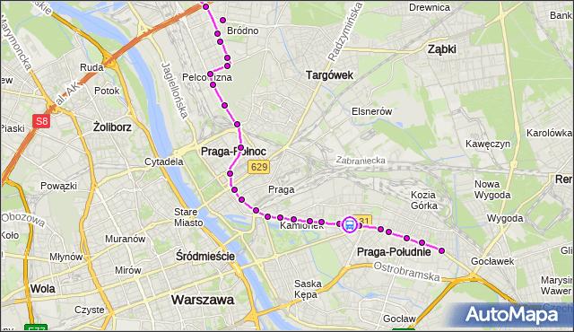 Rozkład jazdy tramwaju 3 na przystanku Kickiego 02. ZTM Warszawa na mapie Targeo