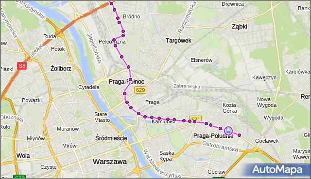 Rozkład jazdy tramwaju 3 na przystanku Żółkiewskiego 04. ZTM Warszawa na mapie Targeo