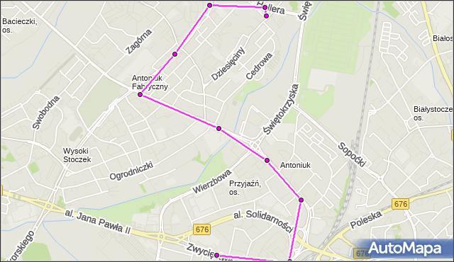 Mapa Polski Targeo, Autobus 11 - trasa - PROWIANTOWA 02(597)(nr inw. 597). BKM na mapie Targeo