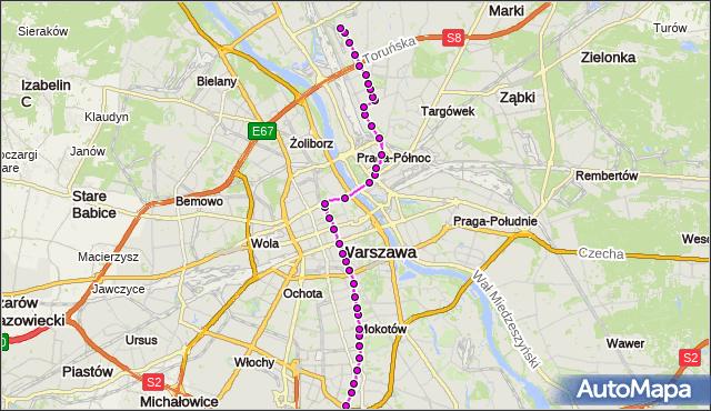 Mapa Polski Targeo, Tramwaj 4 - trasa WYŚCIGI - ŻERAŃ WSCHODNI. ZTM Warszawa na mapie Targeo