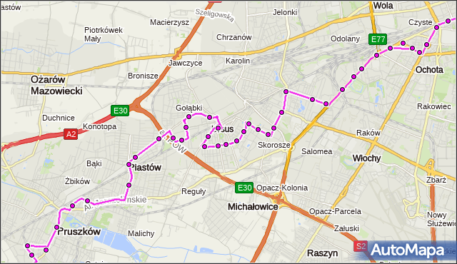 Mapa Polski Targeo, Autobus N85 - trasa DW.CENTRALNY - OS.STASZICA PR. ZTM Warszawa na mapie Targeo