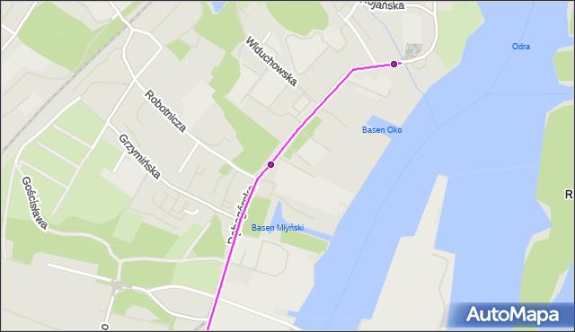 Mapa Polski Targeo, Tramwaj 11 - trasa Ludowa - Zajezdnia Golęcin. ZDiTM Szczecin na mapie Targeo