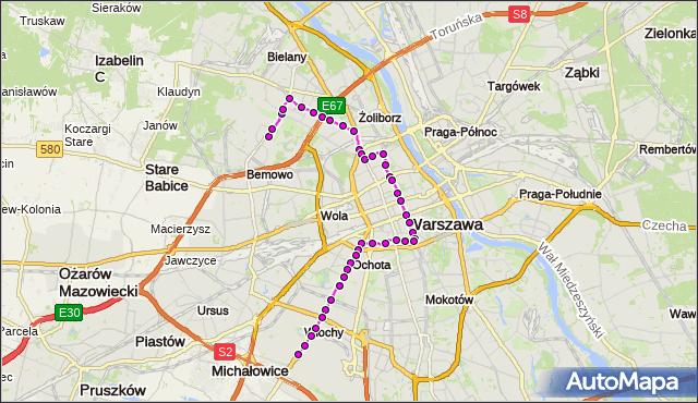 Mapa Polski Targeo, Tramwaj 35 - trasa NOWE BEMOWO - OKĘCIE. ZTM Warszawa na mapie Targeo
