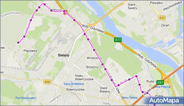 Mapa Polski Targeo, Autobus 181 - trasa CM.PÓŁNOCNY-BRAMA GŁ. - PL.WILSONA. ZTM Warszawa na mapie Targeo