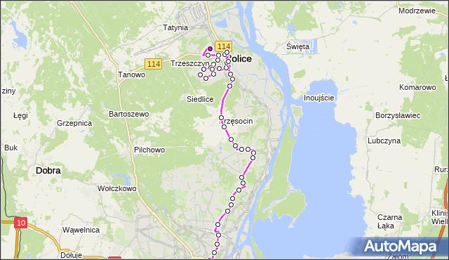 Mapa Polski Targeo, Autobus 524 - trasa Police Zajezdnia - Plac Rodła. ZDiTM Szczecin na mapie Targeo