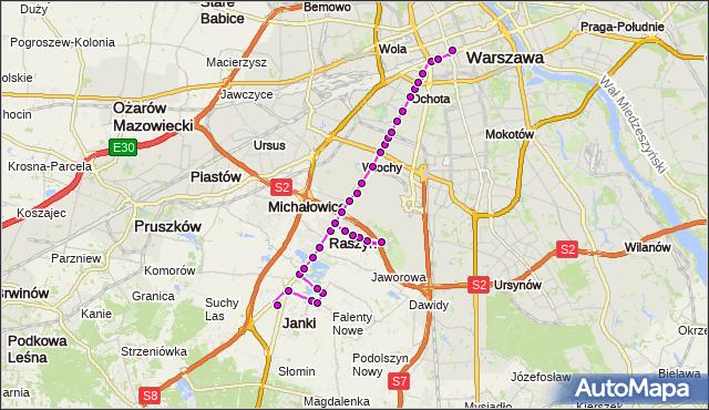 Mapa Polski Targeo, Autobus N88 - trasa PL.SZWEDZKI JK - DW.CENTRALNY. ZTM Warszawa na mapie Targeo