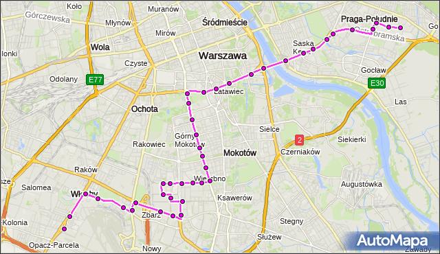 Mapa Polski Targeo, Autobus 182 - trasa OKĘCIE - WITOLIN. ZTM Warszawa na mapie Targeo