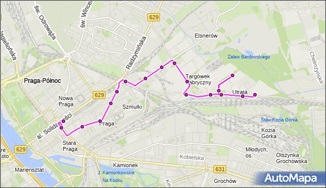 Mapa Polski Targeo, Autobus 338 - trasa DW.WILEŃSKI - UTRATA-SKŁAD. ZTM Warszawa na mapie Targeo