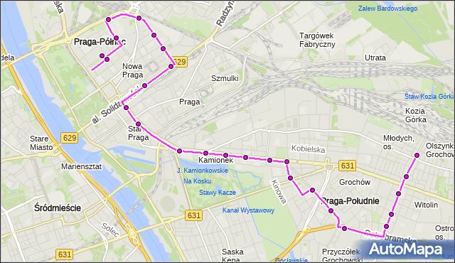 Mapa Polski Targeo, Autobus 135 - trasa PL.HALLERA - PKP OLSZYNKA GROCHOWSKA. ZTM Warszawa na mapie Targeo