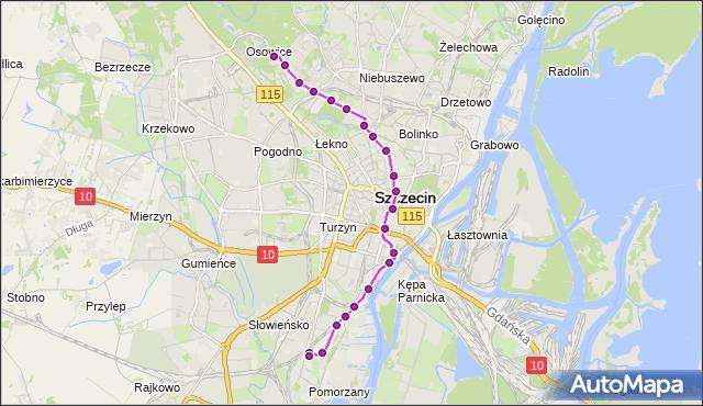 Mapa Polski Targeo, Tramwaj 3 - trasa Las Arkoński - Pomorzany. ZDiTM Szczecin na mapie Targeo