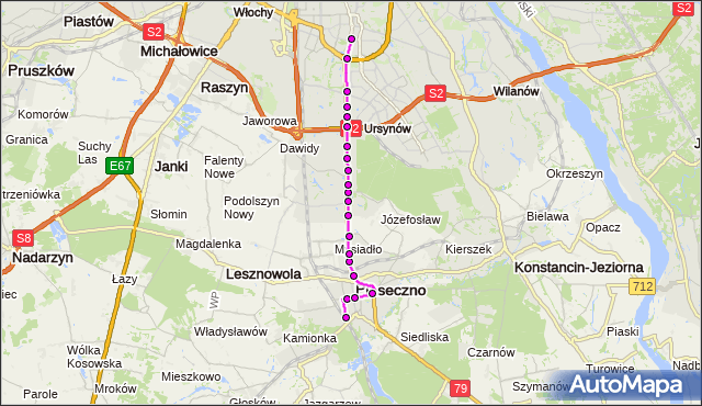 Mapa Polski Targeo, Autobus 709 - trasa PKP PIASECZNO PS - METRO WILANOWSKA. ZTM Warszawa na mapie Targeo
