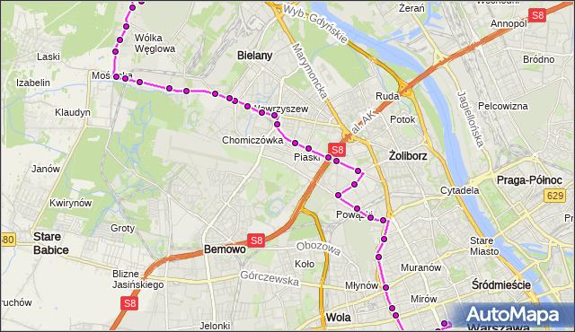 Mapa Polski Targeo, Autobus N91 - trasa DW.CENTRALNY - CM.PÓŁNOCNY-BRAMA ZACH.. ZTM Warszawa na mapie Targeo