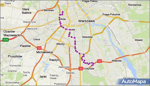 Mapa Polski Targeo, Autobus 136 - trasa NATOLIN PŁN. - MŁYNÓW. ZTM Warszawa na mapie Targeo