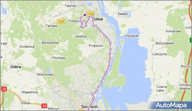Mapa Polski Targeo, Autobus 526 - trasa Dworzec Główny - Police Zajezdnia. ZDiTM Szczecin na mapie Targeo