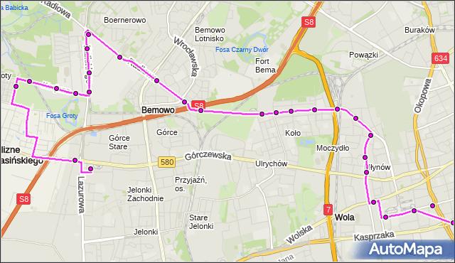 Mapa Polski Targeo, Autobus N95 - trasa OS.GÓRCZEWSKA - DW.CENTRALNY. ZTM Warszawa na mapie Targeo