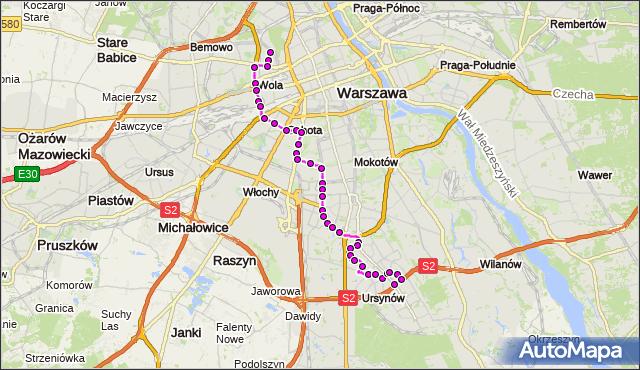 Mapa Polski Targeo, Autobus 136 - trasa MŁYNÓW - NATOLIN PŁN.. ZTM Warszawa na mapie Targeo