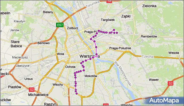Mapa Polski Targeo, Autobus 138 - trasa UTRATA-SKŁAD - BOKSERSKA. ZTM Warszawa na mapie Targeo