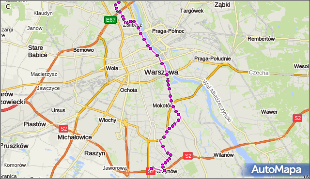 Mapa Polski Targeo, Autobus 185 - trasa GWIAŹDZISTA - URSYNÓW ZACH.. ZTM Warszawa na mapie Targeo