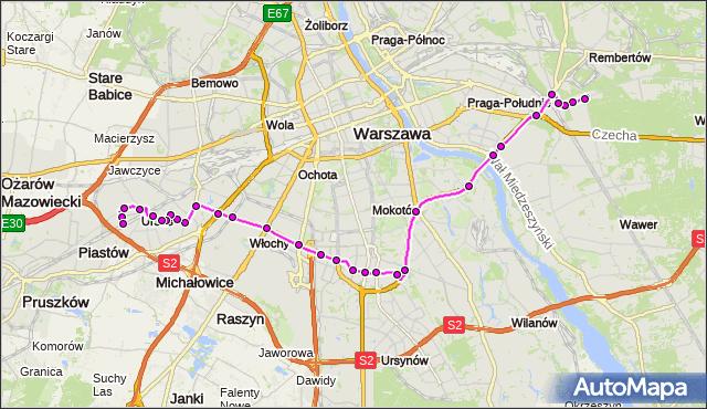 Mapa Polski Targeo, Autobus 401 - trasa MARYSIN - URSUS-NIEDŹWIADEK. ZTM Warszawa na mapie Targeo