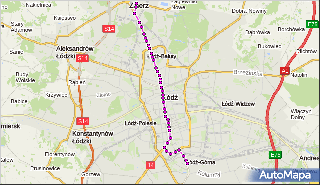 Rozkład jazdy tramwaju 16 na przystanku Zachodnia/Próchnika. MPK Łódź na mapie Targeo