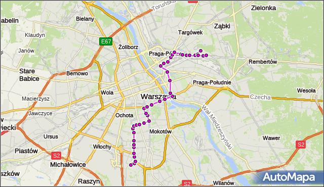 Mapa Polski Targeo, Autobus 138 - trasa BOKSERSKA - UTRATA-SKŁAD. ZTM Warszawa na mapie Targeo
