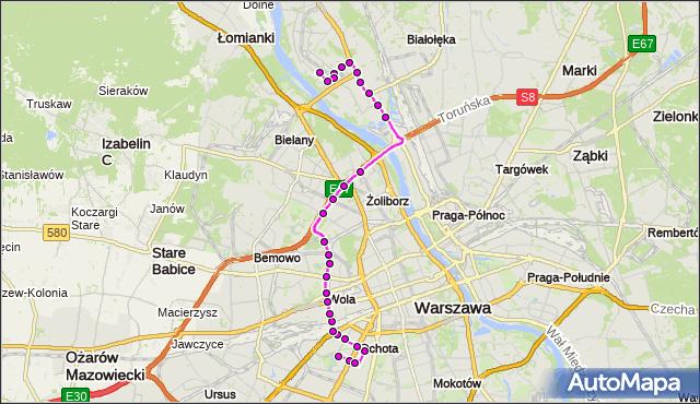 Mapa Polski Targeo, Autobus 186 - trasa SZCZĘŚLIWICE - TARCHOMIN. ZTM Warszawa na mapie Targeo