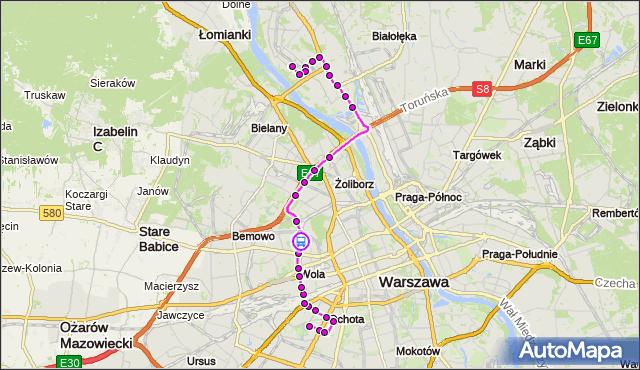 Rozkład jazdy autobusu 186 na przystanku Czorsztyńska 02. ZTM Warszawa na mapie Targeo