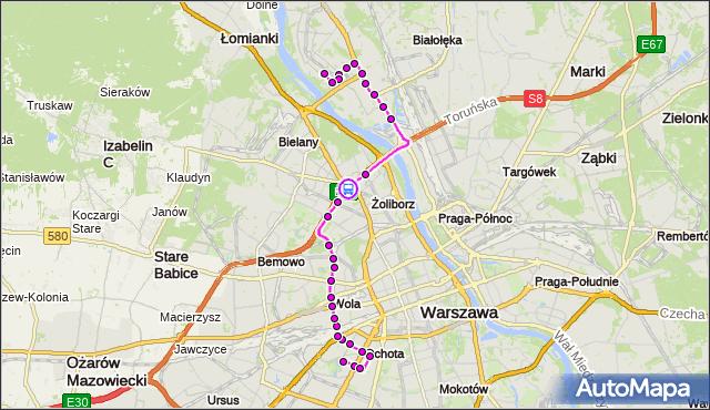 Rozkład jazdy autobusu 186 na przystanku Park Kaskada 05. ZTM Warszawa na mapie Targeo
