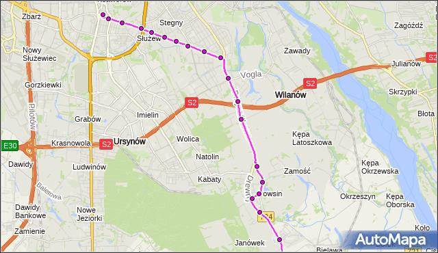 Mapa Polski Targeo, Autobus 139 - trasa OGRÓD BOTANICZNY - METRO WILANOWSKA. ZTM Warszawa na mapie Targeo