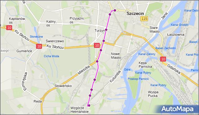 Mapa Polski Targeo, Tramwaj 5 - trasa Pomorzany - Stocznia Szczecińska. ZDiTM Szczecin na mapie Targeo