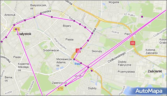 Mapa Polski Targeo, Autobus 22 - trasa DWORZEC - STADION MIEJSKI(84)(nr inw. 84). BKM na mapie Targeo