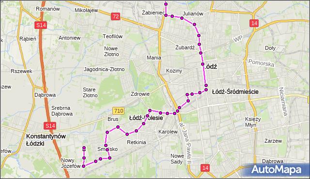 Mapa Polski Targeo, Autobus 99 - trasa 11 Listopada - Nowy Józefów - pętla. MPKLodz na mapie Targeo