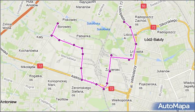 Rozkład jazdy autobusu 84 na przystanku Włókniarzy/Liściasta. MPK Łódź na mapie Targeo