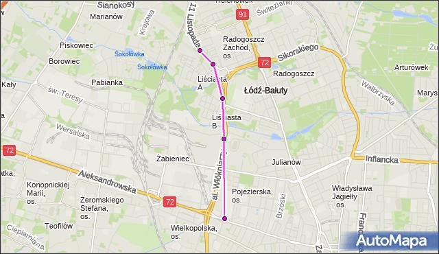Mapa Polski Targeo, Autobus 99 - trasa 11 Listopada - zajezdnia LIMANOWSKIEGO. MPKLodz na mapie Targeo